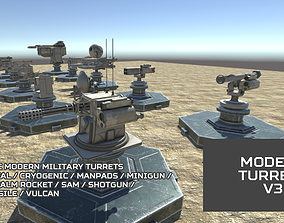 3D model VR / AR ready Modern Unmanned Turrets V3
