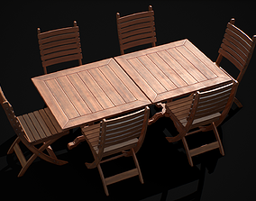 3D model low-poly Restaurant Table and Chair