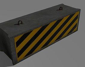 low-poly Concrete Barrier 3D model