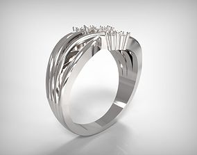 Jewelry Silver Ring Encrusted Crystals 3D printable model