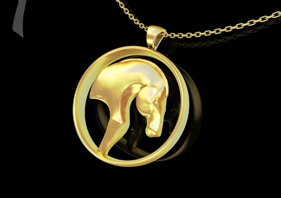 Head Horse Sculpture jewelry Gold 3D print model