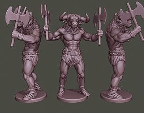 Minotaur Warrior Stand4 two Axes 3D printable model