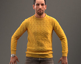 Rigged low poly 3d man in casual clothing rigged