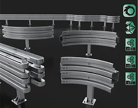 3D Road Barrier Modular Detailed collection