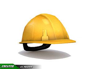 Worker Helmet Yellow Safety Helmet Lowpoly VR / AR ready 1