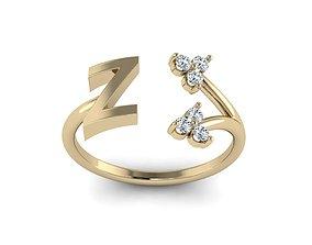 3D printable model Jewelry Alphabet Ring Z with Diamonds