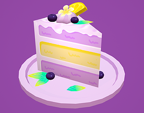 Lemon Blueberry Cheesecake Cake 3D asset low-poly