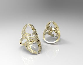 Geometric ring with diamonds 3D printable model