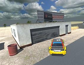 3D CAR REPAIR SHOP GARAGE low-poly