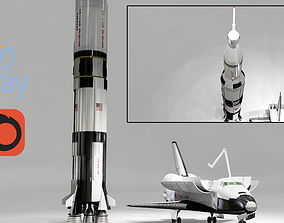 3D asset Spaceship and Space Shutter