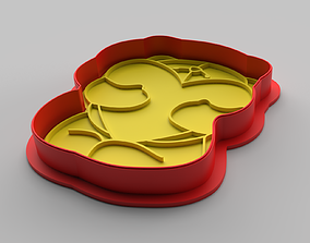Cookie cutter and stamp - Bear and heart 3D print model