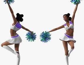 Teenage Light Skin Black Girl Cheerleader 3D