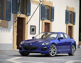 3D Blue Mazda Rx 8 On The Street