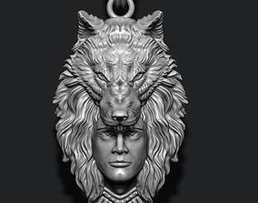 3D print model man wolf pendant