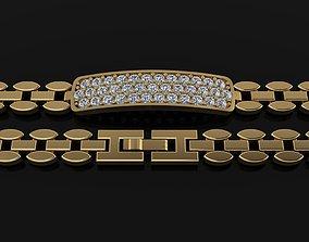 ID BAR TAG TENNIS BRACELET DIAMOND CLUSTER 3D print model