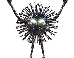 3D Black monster coronavirus with luminous eyes