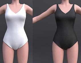 3D model Female bikini - black and white colour swimsuit