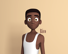 3D Rico Stylised Male Teen character AR friendly texture