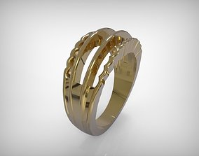 Jewelry Golden Ring Wavy Edges 3D printable model