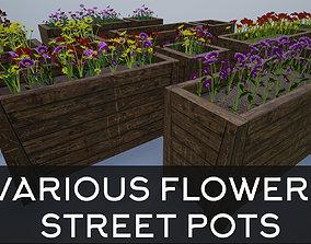 Wooden Big Street Flower Pots 3D asset