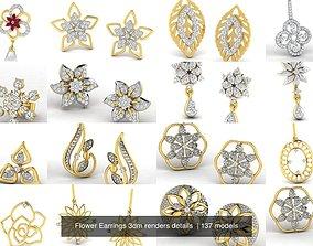 Flower Earrings 3dm renders details
