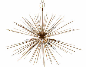 The metal ceiling light in color brass 3D