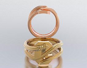 gold 3D print model letter snake rings