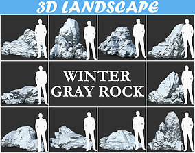 Low poly Snow Winter Rock Pack 181203 3D model