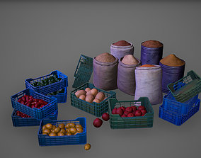 3D asset Groceries Set Vegetable Fruit Basket Game Ready