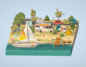 3D model isometric camping big scene on the river