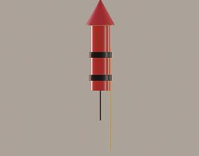 Firework Rocket 3D model realtime