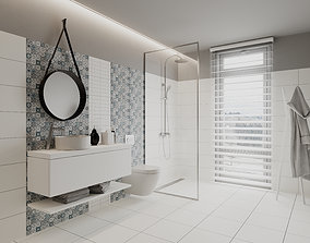 Perfect Pearl Bathroom Scene for Cinema 4D and 3D model 1