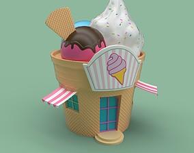 Ice cream building shop 3D asset