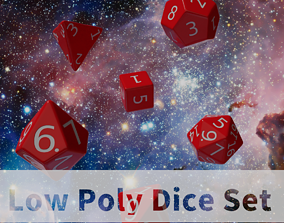 Red Plastic Dice Set 3D asset