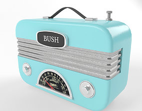 music 3D Retro Vintage Radio in blue color