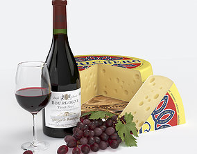 3D model Red Wine and Cheese