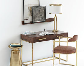 Pottery Barn Fitz desk with decor 3D