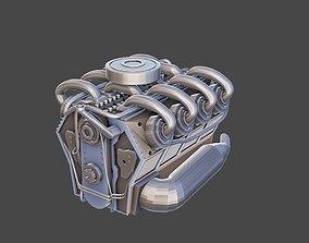 3D asset Low poly V8 engine