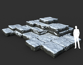 Low poly Snow Ruin Medieval Construction 10 3D asset