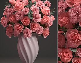 Bouquet of pink roses 3D model