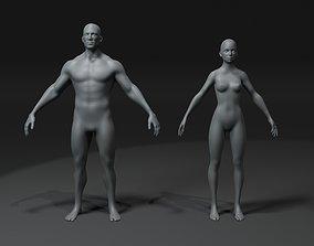 Male and Female Body Base Mesh 3D Model 20k VR / AR ready