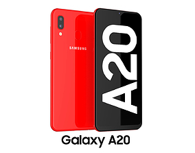 3D model Samsung Galaxy A20 Red