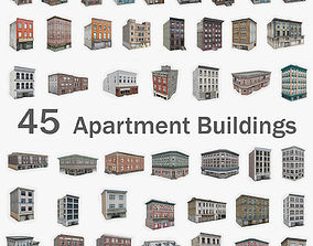 3D asset 45 Apartment Building Collection