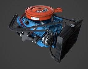 MOPAR V8 lowpoly 3D asset