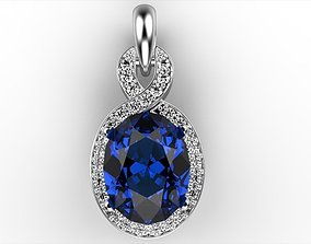 3D printable model Oval Sapphire Pendant 2