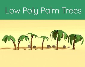 Low Poly Palm Trees 3D asset