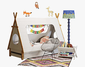 3D model Domayne tee pee bed crate and barrel decoration