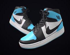 Sneaker Nike Air Jordan Blue White 3D asset low-poly