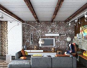 3D Rustic Living Room