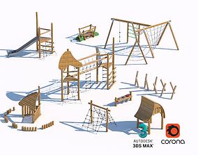 3D model children wooden playground equipment set 01